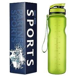 Alupper Sport Trinkflasche-Tritan Wasserflasche-500ml&1000ml-BPA-frei-Ideale Sportflasche-Schneller Wasserdurchfluss,der Verschluss öffnet Sich mit einem 1-Click (Neu Grün, 1L)