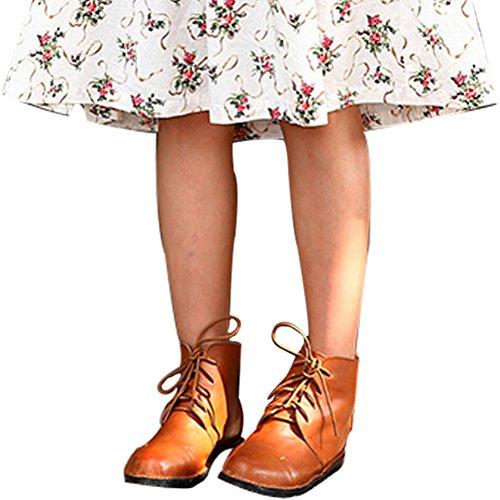 Vogstyle Damen Handgemachte Herbst Winter Martens Booties Stiefel Braun