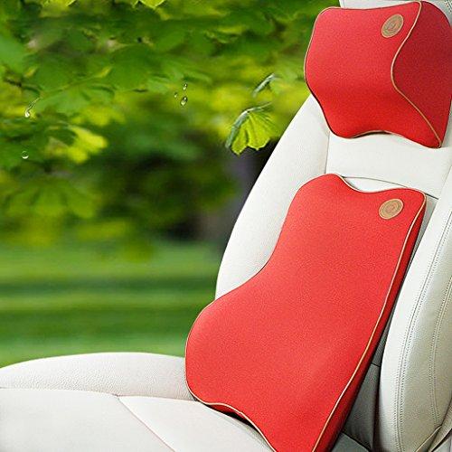 Preisvergleich Produktbild QIHANGCHEPIN Volle lumbale blaue Unterstützung - vorgerücktes ganzes hohes hinteres Kissen für Bürostühle und Autositze - Ergonomische bequeme Gedächtnis-Schaum-Taillen-Auflagen entlasten das Sofa,  das unter Ischias-Schmerz (rot / schwarz) liest ( Farbe : Rot )