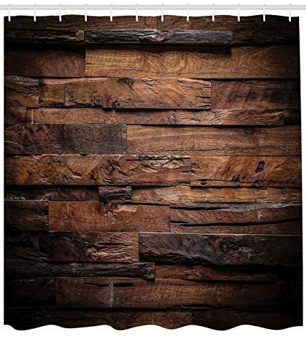 ABAKUHAUS Schokolade Duschvorhang, Grobes Dunkles Holz, mit 12 Ringe Set Wasserdicht Stielvoll Modern Farbfest und Schimmel Resistent, 175x200 cm, Dunkelbraun Braun -