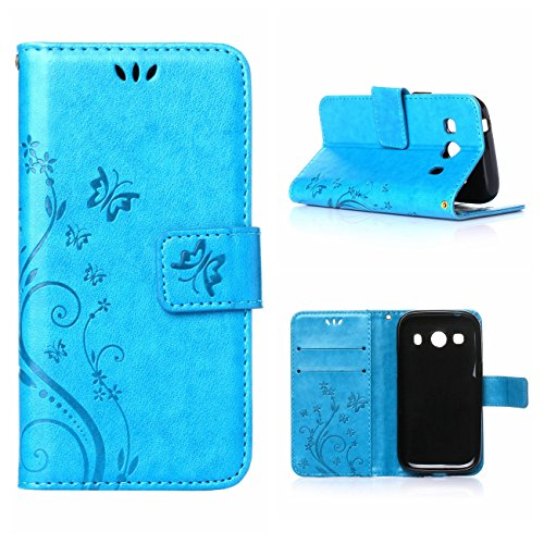 MOONCASE Galaxy Ace 4 Custodia in Pelle Protettiva Flip Cover per Samsung Galaxy Ace 4 SM-G357 SM-G357FZ Fiore Snap-on Magnetico Bookstyle TPU Case Blu
