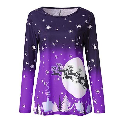 IZHH Damen Pullover Frauen Weihnachten Casual Print Langarm Weihnachten T Shirt Top Bluse Damen Weihnachten Print Langarm T-Shirt Top Sweat-Shirts Pullover Tunika Blusen T-Shirts Tops(Lila,X-Large)