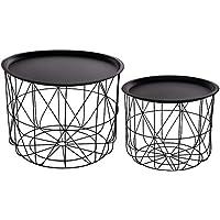 Juego de 2 mesas de café encajables con bandejas extraíbles - Diseño y modernas - Color Negro