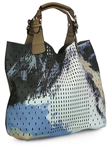 Lovely Lauri Damen Handtasche Painted Henkeltasche Art Bag Tasche Khaki Khaki