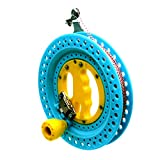 EMMAKITES Lockable Kite Reel Winder 22cm (Dia) MACARON Blue with 120lb Dacron Line Smooth Rotation Ball Bearing Tool for Single Line Kite Flying Inflatable Delta Octopus Another Big Knob