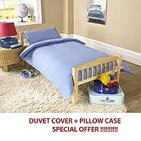 COT BED DUVET COVER WITH PILLOWCASE- SUPERIOR NATURAL COTTON RICH 120 X 150 CM - LIGHT BLUE