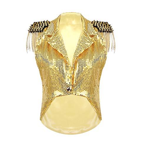 Für Erwachsene Pailletten Jacke Kostüm Gold - YiZYiF Damen Pailletten Weste Ärmellos Jacke mit Metalic Quasten Frauen V-Ausschnitt Captain Waistcoat Blazer Karneval Fasching Silvester Party Kostüm Gold One Size