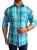 Solen Men's Casual Blue Checkered Shirt