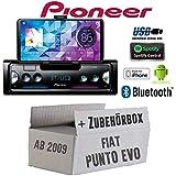 FIAT Punto EVO / 199 - Autoradio Radio Pioneer SPH-10BT - Smartphone Empfänger mit Bluetooth   Spotify   Android   iPhone   4x50Watt Einbauzubehör - Einbauset