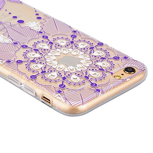 SMART LEGEND iPhone 6 Plus/6S Plus Weiche Silikon Hülle Bumper Schutzhülle Transparent Hülle mit Rosa Mandala Blumen Muster Handyhülle Crystal Schutzhülle Kirstall Clear Etui Ultra Slim Durchsichtig W Lila