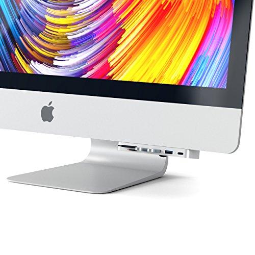 Satechi Aluminium Typ-C Klammer Hub Pro mit USB-C Datenanschluss, 3 USB 3.0 Anschlüssen, Micro/SD Kartenlesegerät für das 2017er iMac und iMac Pro (Silber)