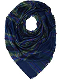 Lee Damen Schal Check Scarf, Blau (Navy Darkness ML), One size (Herstellergröße: 88)