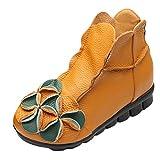 Vogstyle Damen Neu Beiläufig Blumen Lederstiefel Handgefertigt Kurze Boots Fleece Gelb Art 1 EU 41-42=Asian 42