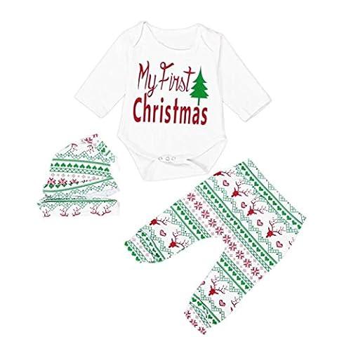 Kolylong Christmas Infant Baby Boy Girl Outfits Romper Pants+hat+headband Clothes