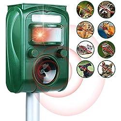 Traputa Repulsif Chat Exterieur Ultrason- Solaire Répulsif Chat Exterieur Sensibilité et Fréquence Réglable Ultrason Chat pour Repousser Animaux Nuisibles Protecteur de Jardi