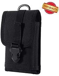 zeato EDC táctico militar MOLLE bolsa de teléfono bolsa de camuflaje cintura Holster con cinturón Clip 1000d nailon Touch deber para iphone 7plus 6s 6Plus Galaxy Note 5S8S7S6edge LG Sony y más (negro)