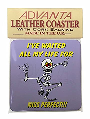 'Waiting for Miss Perfect' Single Leather Photo Coaster Animal Breed Gift