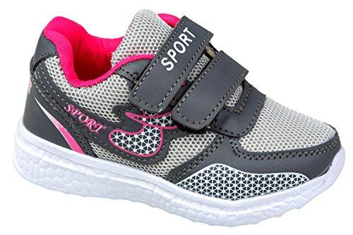 GIBRA® Kinder Sportschuhe, mit Klettverschluss, grau/pink, Gr. 25-35 Grau/Pink