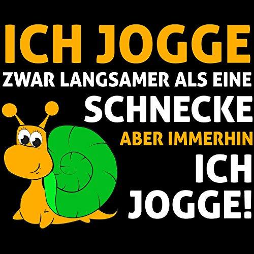 Ich jogge zwar langsamer als eine Schnecke aber immerhin, ich jogge! - Herren T-Shirt von Fashionalarm | Fun Shirt Spruch Spaß Sport Fitness Laufen Jogging Joggen Lustig Motivation Schwarz
