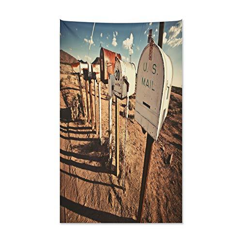 Staaten Wandteppich und Tagesdecke, Alte Postfächer aus Weiches Mikrofaser Stoff Kein Verblassen Klare Farben Waschbar, 140 x 230 cm, Weiß Braun Blau ()
