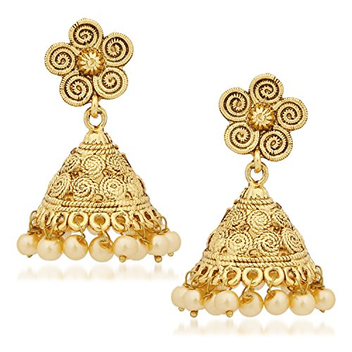 Meenaz Jewellery Gold Plated Pearl Jhumka Earring Ear Rings For Girls Women Earring Necklace Jewellery Jhumki-J121  available at amazon for Rs.152