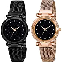 Acnos Black Round Diamond Dial with Latest Generation Purple & Rosegold Magnet Belt Analogue Watch for Women Pack of - 2…