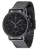 DETOMASO MILANO Herren-Armbanduhr Chronograph Analog Quarz schwarzes Edelstahl Milanaise-Armband schwarzes Zifferblatt DT1052-P