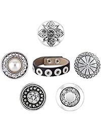 Morella set de pulsera de color negro con 5 botones de presión SMALL Click-Button (12mm), color plata