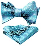 HISDERN Men's Paisley Floral Handkerchief Jacquard Wedding Party Self Bow Tie Pocket Square Set