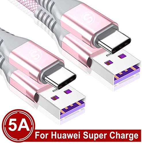 USB Typ C Kabel 5A [2 Stück 2M] Sweguard Schnell Ladekabel für Huawei Mate 30 Pro P30 P20 P10 Pro Mate20 Lite Mate10 Mate9 P9 Plus Mediapad M6 M5 Pro Nova4 Nova5 Pro Nova2,Huawei Supercharge(Rosa)