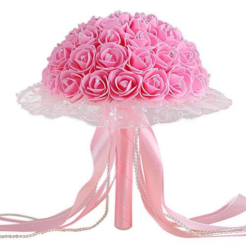 zycshang 1Bouquet Künstliche Modern rosa Kristall-Rosen, edle Spitzenband Dekoration, Romantische Atmosphäre Maker, Armatur für Hochzeit Party Büro Dekoration und Freude Tage