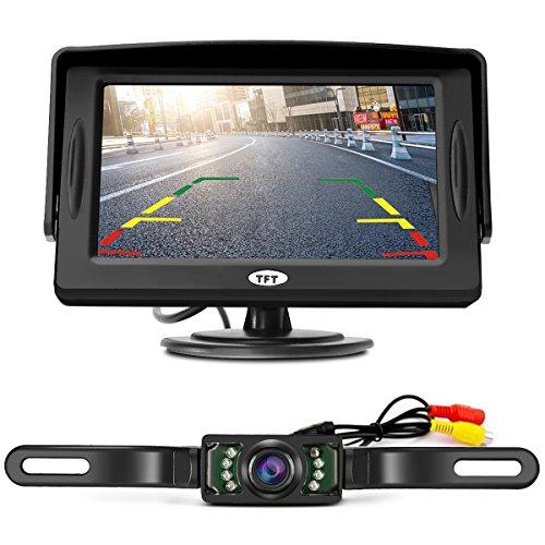 """Rückfahrkamera Tvird Rückfahrsystem Nachtsicht und 4.3"""" LCD KFZ Monitor Rückansicht Einparkhilfe 170°Sichtwinkel"""