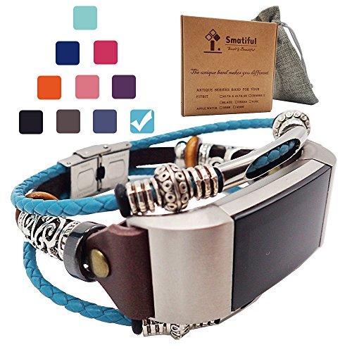 Smatiful Uhr Lederarmband (Nicht Wasserdicht) Zubehör für Damen und Herren, Verstellbar Leder Ersatz Sportarmband for Fitbit Charge 2,Mediterranes Blau