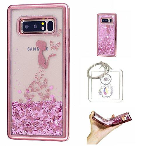 Preisvergleich Produktbild Hülle Galaxy Note8 (6,3 Zoll) Hülle Transparent Hardcase,3D Galvanotechnik TPU Kreative Liquid Bling Hülle Case Für Galaxy Note8 (6,3 Zoll) ,Dynamisch Kristall Handytasche + Schlüsselanhänger (R) (1)