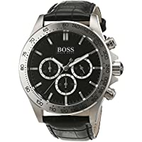Hugo Boss 1513178 Ikon Wristwatch Men's Leather Watch (Black)