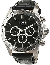 Boss Herren-Armbanduhr Chronograph Quarz Leder 1513178