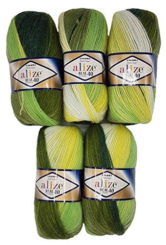 5 x 100 g Alize Strickwolle 40% Woll-Anteil, Mehrfarbig mit Farbverlauf, 500 Gramm Wolle (grün gelb weiß 1593)