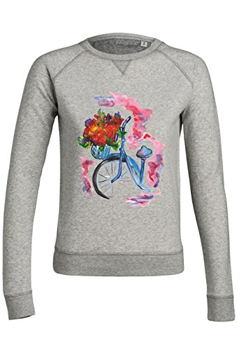 ul18 Sweat pour femmes Trips Bicycle with Flowers Heather Grey