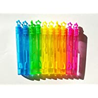 10 Mini BUBBLES wands NEON rainbow stars Childrens party birthday bag fillers