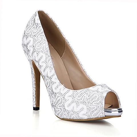Printemps Nouveau produit chaussure unique du vent de la Chine Argent Plaque Or haute fine chaussures de talon pour les plus gros poissons mariage dîner chaussures tip, argent