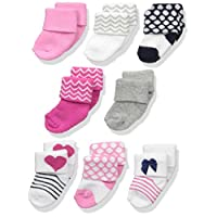 Luvable Friends Unisex Baby Socks, Dark Pink/Navy 8-Pack, 6-12 Months