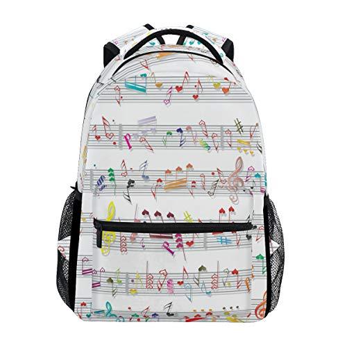 Büchertasche für Teenager Mädchen Jungen, Musik Note Sound Textur Reiserucksack Umhängetasche Wandertasche für Damen Herren ()