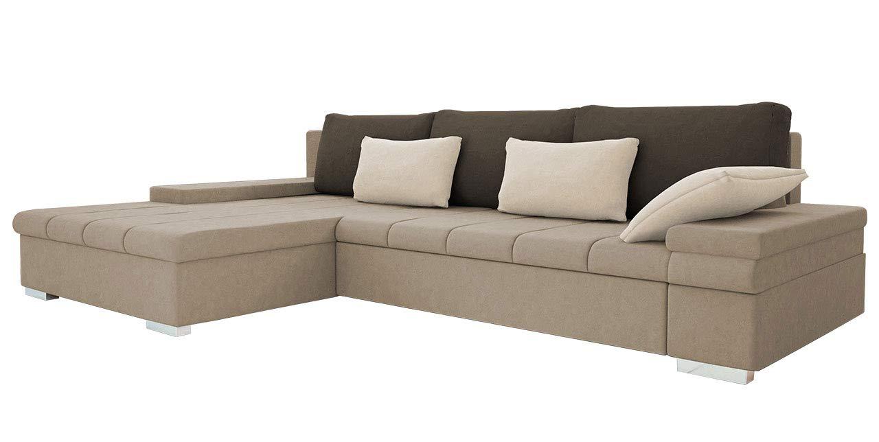 Mirjan24 Design Ecksofa Bangkok, Moderne Eckcouch mit Schlaffunktion und  Bettkasten, Ecksofa für Wohnzimmer, Gästezimmer, Couch L-Form, ...