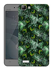 "Humor Gang Peacock Feathers PatternPrinted Designer Mobile Back Cover For ""Vivo V1"" (3D, Matte Finish, Premium Quality, Protective Snap On Slim Hard Phone Case, Multi Color)"