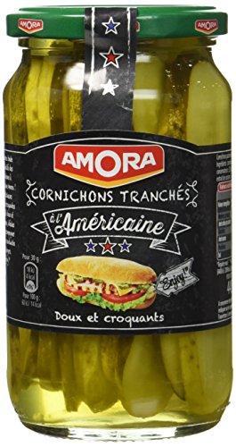AMORA Cornichons Tranchés à l'Américaine 279 g - Lot de 4