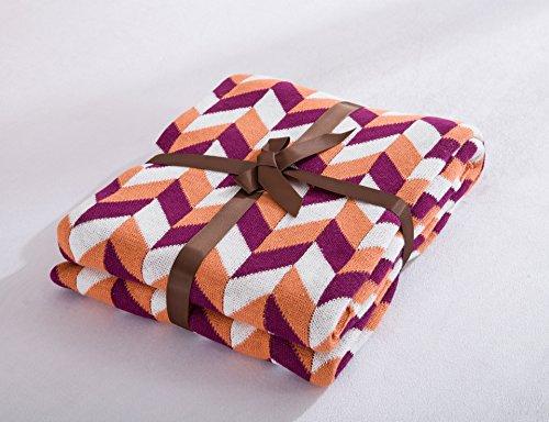 GHKLGY Gestrickte Decke Heather Grey für Sofa und Couch, leicht, ultra-weich Cozy Knit Bett Wirft 120x180cm von Bedsure , sheraton orange (Heather Cozy)