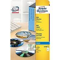Avery C9780-15 Etichette Full-Face per DVD, 2 Pezzi per Foglio, Stampanti Inkjet, 15 Fogli, Diametro 117 mm, Bianco