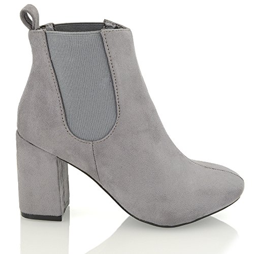 ESSEX GLAM Womens Chelsea Ankle Boots Mid Heel Block Elasticated Pull On Gusset  Casual Riding Biker Winter Booties