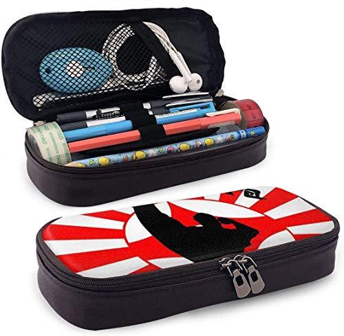 Karate Art Picture Leder Federmäppchen Stifthalter mit Reißverschluss für Mädchen und Jungen - Bleistiftbeutel Schreibwaren Aufbewahrungstasche für das Schulbüro (braun)