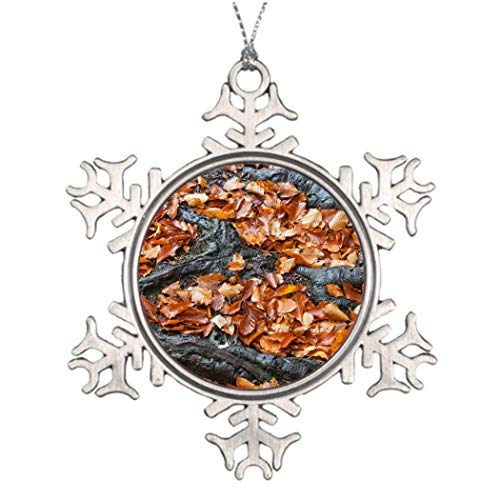 DKISEE Tree Branch Decoration Autumn Season Leaves Between Tree Roots Personalized Christmas Snowflake Ornament 3 inches Aluminum Metal Christmas Ornament Keepsake -